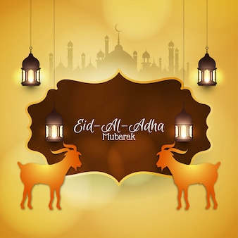 Abstract eid al adha mubarak greeting background