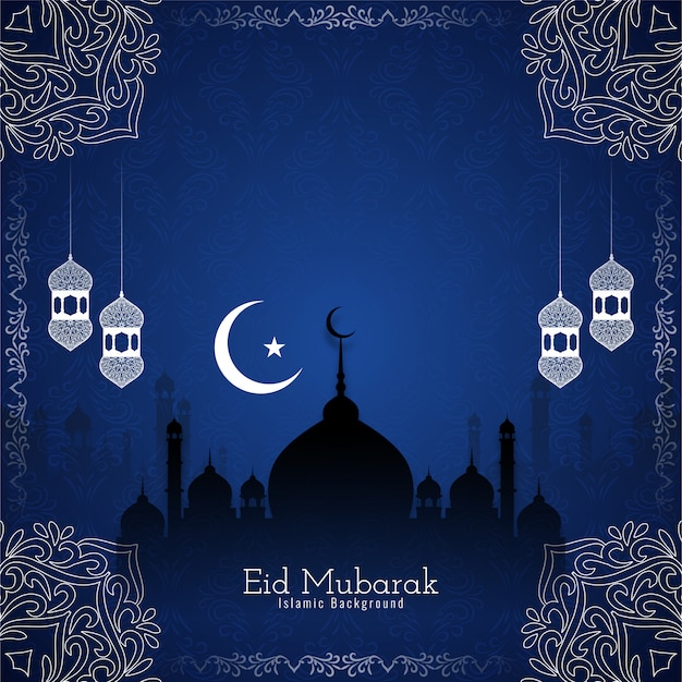 Abstract eid mubarak blue background