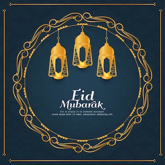Abstract eid mubarak golden frame background