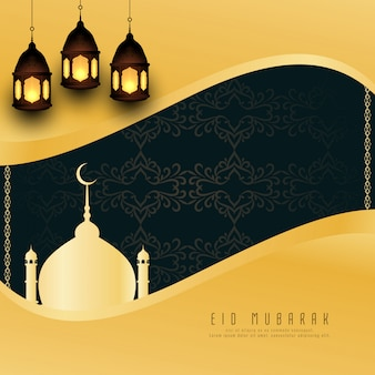 Abstract eid mubarak greeting background