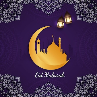 Abstract eid mubarak religious violet