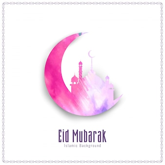 Abstract Eid Mubarak watercolor background illustration