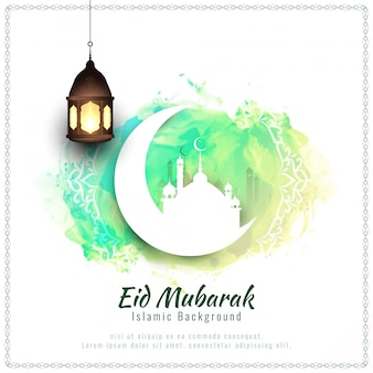 Abstract Eid Mubarak watercolor background illustration