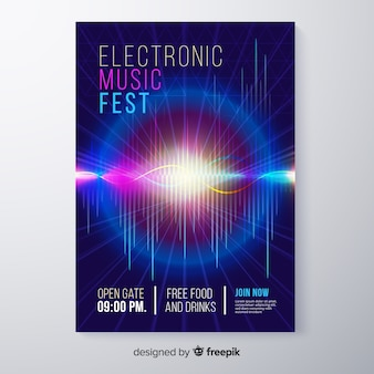 Abstract electronic music festival poster template