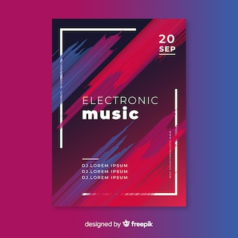Abstract electronic music poster template Premium Vector