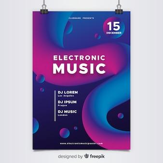 추상 전자 음악 포스터 템플릿