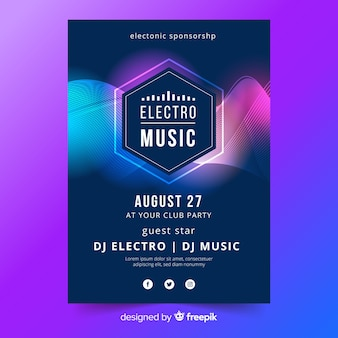 Abstract electronic music poster template