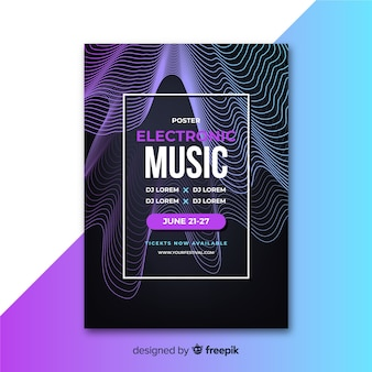 Абстрактный плакат электронной музыки с шаблоном волн