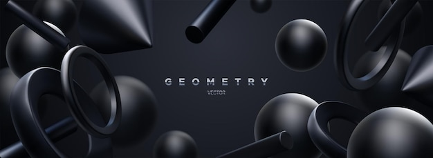 流れるような黒い幾何学的形状と抽象的なエレガントな3d背景