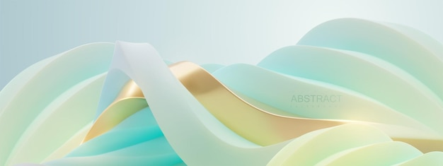 Abstract elegant background of undulating curvy fantasy landscape of turquoise and golden wavy shape