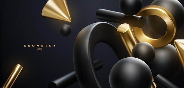 Abstract elegant background with black and golden  flowing geometric shapes
