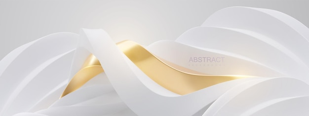 Abstract elegant background with futuristic curvy landscape of white and golden wavy shapes