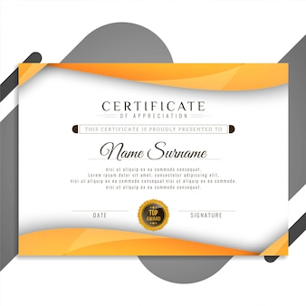 Abstract elegant certificate design