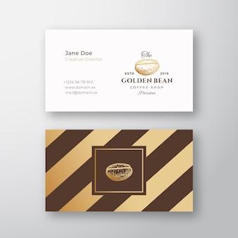 抽象的なエレガントなコーヒーのロゴと名刺テンプレート。手描きの黄金のコーヒー豆。