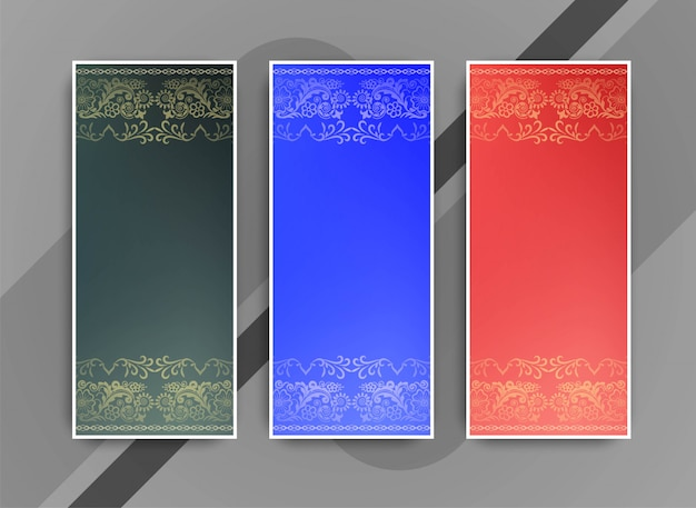 Abstract elegant colorful banners set