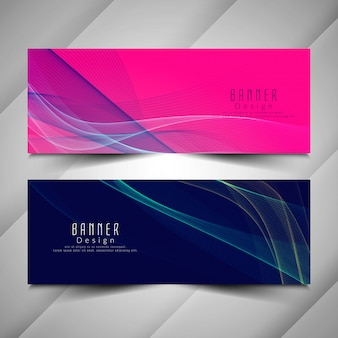 Abstract elegant colorful wavy banners set