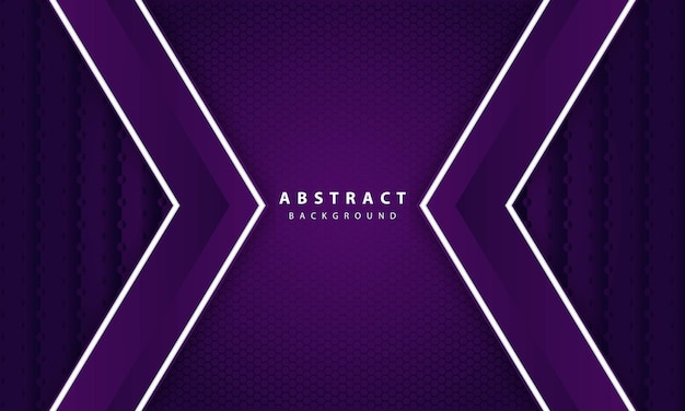 Abstract elegant dark purple on overlap layer background. hexagon texture and white line decoration.