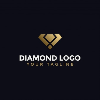 Abstract elegant diamond jewelry logo design template