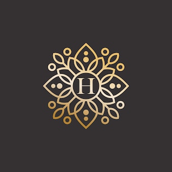Abstract elegant leaf flower logo icon  design
