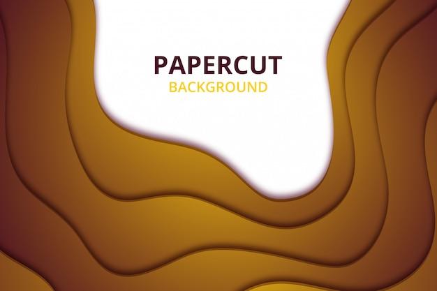 Абстрактные элегантные обои фона papercut. шаблон фона в цвете желтого золота