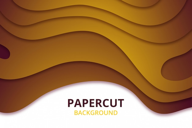 Abstract elegant papercut background wallpaper. backdrop template in yellow gold color