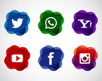Abstract elegant social media icons set design