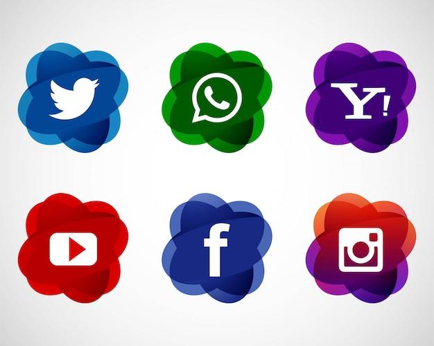 Progettazione stabilita delle icone sociali eleganti astratte di media