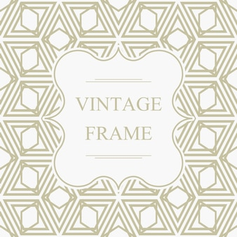 Abstract elegant vintage frame template on light geometric rhombus seamless pattern in kaleidoscope style