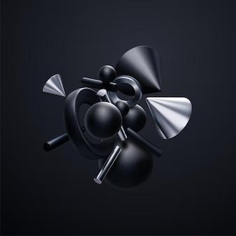 黒と銀の3d幾何学的形状クラスタークラウドと抽象的なエレガントな壁紙