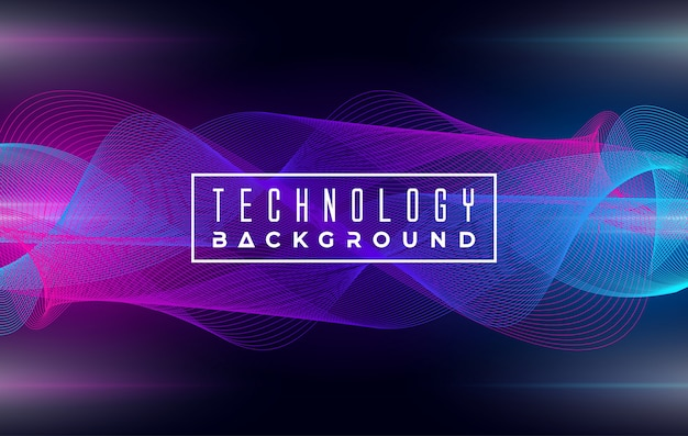 Abstract elegant wave technology background