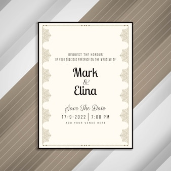 Abstract elegant wedding invitation card design