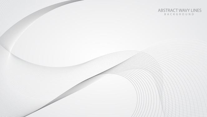 fondo bianco elegante astratto con le onde di linea fluenti