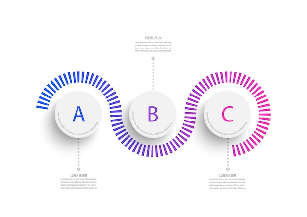 Abstract elements of graph infographic template with label, integrated circles. business concept with 3 options.