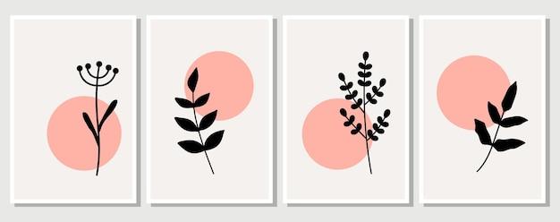 추상 요소, 최소한의 간단한 꽃 요소. 나뭇잎과 꽃. 파스텔 색상의 예술 포스터 컬렉션입니다. 소셜 네트워크, 엽서, 지문을 위한 디자인. 개요, 선, 낙서 스타일.