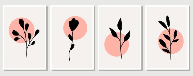 抽象的な要素、ミニマルなシンプルな花の要素。葉と花。パステルカラーのアートポスターのコレクション。ソーシャルネットワーク、ポストカード、プリントのデザイン。アウトライン、ライン、落書きスタイル。