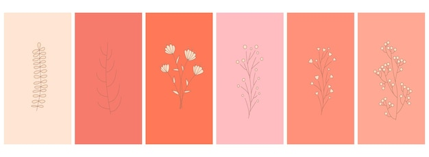 Abstract elements, minimalistic simple floral elements. leaves and flowers. collection of art posters in pastel colors. design for social networks, postcards, prints. outline, line, doodle style.