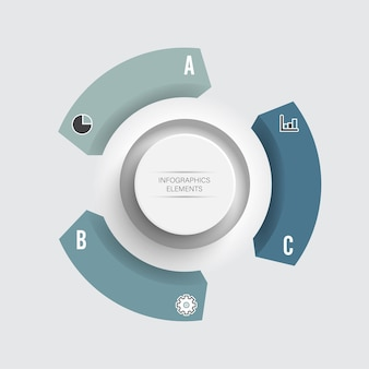 ラベル、統合された円とグラフインフォグラフィックテンプレートの抽象的な要素。 3つのオプションを持つビジネスコンセプト。コンテンツ、図、フローチャート、ステップ、パーツ、タイムラインインフォグラフィック、ワークフローレイアウト。