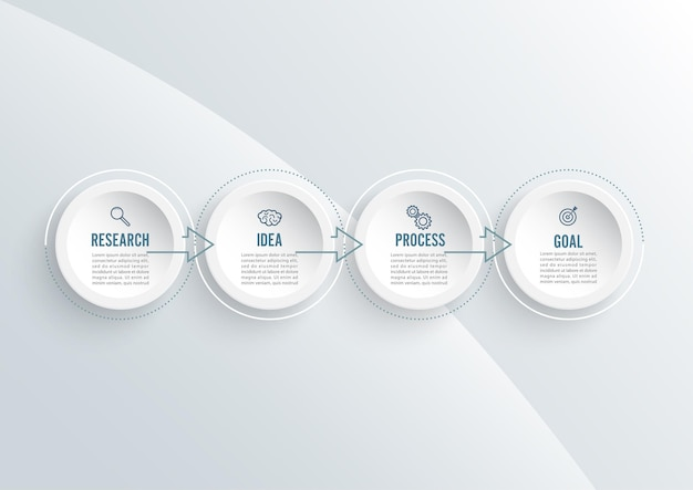 ラベル、統合された円とグラフインフォグラフィックテンプレートの抽象的な要素。 4つのオプションを持つビジネスコンセプト。コンテンツ、図、フローチャート、ステップ、パーツ、タイムラインインフォグラフィック、ワークフローレイアウト。