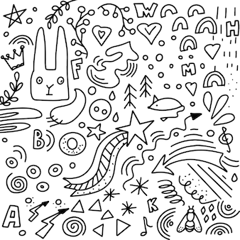 Abstract elements in a simple doodle style