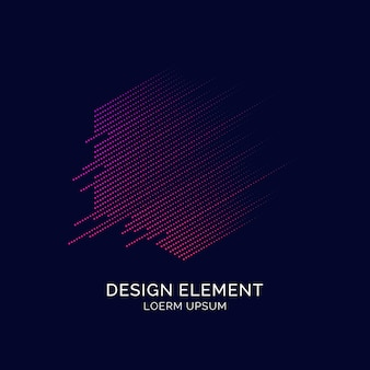 Abstract elements with dynamic lines and particles. vector illustration in flat minimalistic style
