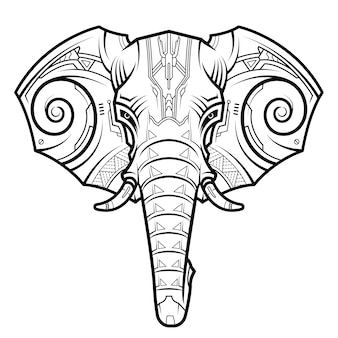 Abstract elephant head in techno drawing style.
