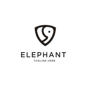 Abstract elephant and shield logo vector design