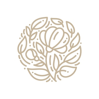 Abstract emblem logo flower in a circle in linear style.