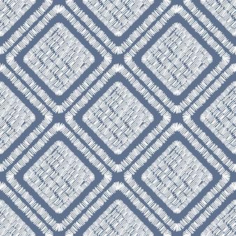 抽象的な刺繡幾何学的なタイルのシームレスなパターン。パッチワークの飾り。タイルの形の背景。手描きのベクトル図