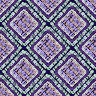 抽象的な刺繡は幾何学的なシームレスパターンを形作ります。パッチワークの飾り。タイルの形の背景。手描きのベクトル図