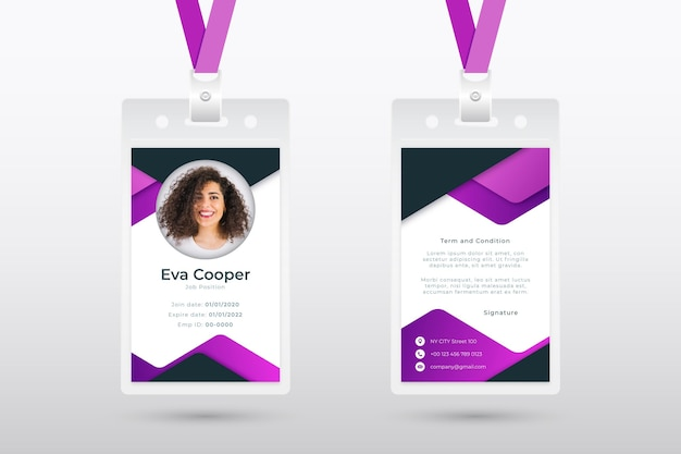 Abstract employee card template with photo
