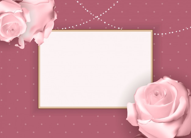 Abstract empty frame rose.  background