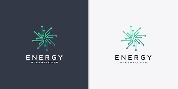 創造的な線画スタイルのベクトルパート1と抽象的なエネルギーロゴ