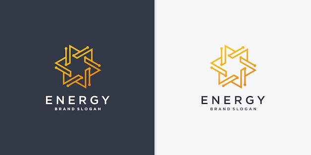 創造的な線画スタイルのベクトルパート4と抽象的なエネルギーロゴ