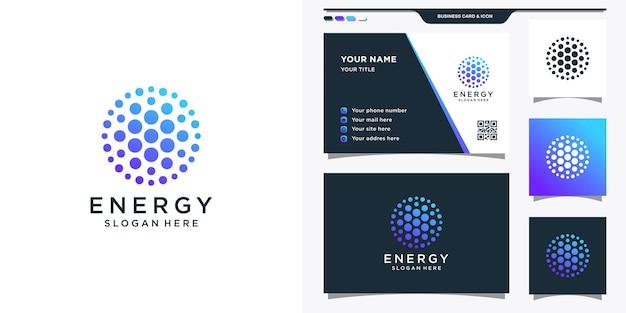 ドットアイコンと抽象的なエネルギーロゴ
